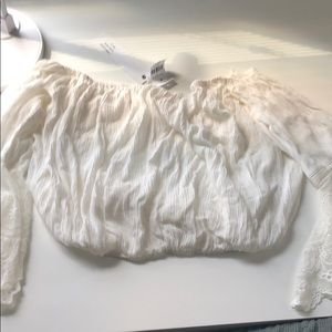 LF stores white lace sleeve blouse off shoulder S